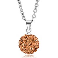 New Arrivals - topaz yellow swarovski elements crystal shamballa necklace pendant with 18  inch long rolo chain earrings Image.