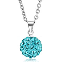 Necklace & Pendants - ocean blue swarovski elements crystal shamballa necklace pendant with 18  inch long rolo chain Image.