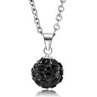 New Arrivals - black swarovski elements crystal shamballa necklace pendant with 18  inch long rolo chain Image.