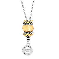 Necklaces - murano glass knotting flower love forever ring dangle necklace beaded fit all brands Image.