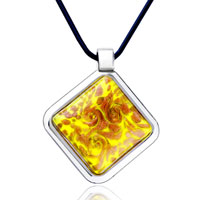 Necklace & Pendants - square yellow pendant necklace murano glass Image.