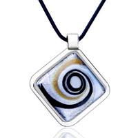 Necklace & Pendants - square swirl pendant necklace murano glass Image.