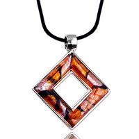Necklace & Pendants - golden open square pendant necklace murano glass Image.