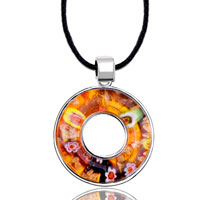 Necklace & Pendants - karma necklaces orange millefleurs open round pendant necklace murano glass beads charms bracelets fit all brands Image.