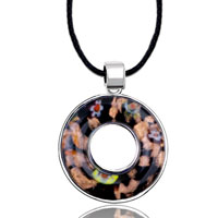 Necklace & Pendants - karma necklaces black millefleurs open round pendant necklace murano glass Image.
