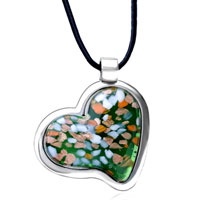 Necklace & Pendants - heart green pendant murano glass necklace Image.