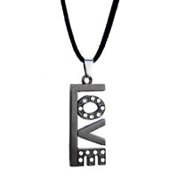 relation - black sweet love dangle clear crystal pendant for men Image.