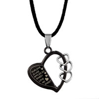 relation - sweet love black heart half hollow triple little pendant for men Image.