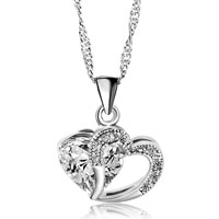 Necklace & Pendants - open heart necklace silver plated love pendant sparkle in necklace made with clear white swarovski elements earrings Image.