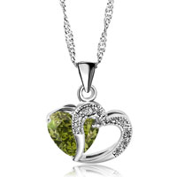 Necklace & Pendants - open heart necklace silver plated love pendant sparkle in necklace made with emerald green swarovski elements earrings Image.