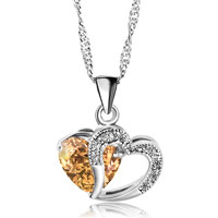 Necklace & Pendants - open heart necklace silver plated love pendant sparkle in necklace made with topaz yellow swarovski elements earrings Image.