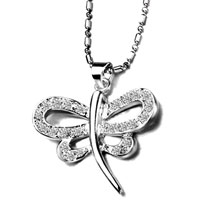 Necklace & Pendants - white clear crystal dragonfly silver plated pendant necklace gifts Image.