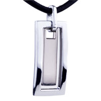 Mom Jewelry - mothers day gifts open rectangular stainless steel necklaces pendant for men Image.
