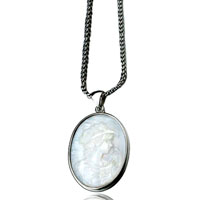 Necklace & Pendants - silver portrait pattern cameo pendant necklace for women b10   earrings Image.