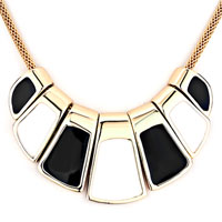 Necklace & Pendants - statement gloden ladder white black drip gum necklace pendant Image.