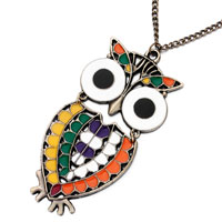 Necklace & Pendants - big owl colorful pendant necklace 18  inches long chain Image.