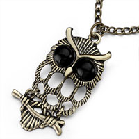 Necklace & Pendants - hollow copper owl black eyes on branch pendant necklace 18  inches long chain Image.