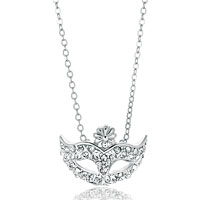 Necklace & Pendants - silver tone mask flower april birthstone crystal pendant necklace Image.