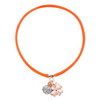 New Arrivals - clear white crystal fashion design rose pink silicone dangle ball and flower necklace pendant Image.