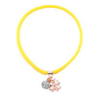New Arrivals - clear white crystal popular topaz yellow silicone dangle ball and flower necklace pendant Image.