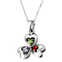 Necklace & Pendants - color crystal clover sterling silver pendant necklaces jewelry for women Image.