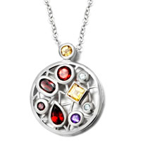 Necklace & Pendants - sterling silver color crystal round pendant necklace for women Image.