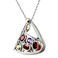 Necklace & Pendants - sterling silver colorful crystal cz pendant necklace for women Image.
