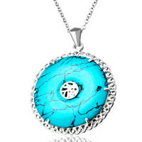 "Necklace & Pendants - chinese character turquoise sterling silver 925  pendant necklace 18""  jewelry women Image."