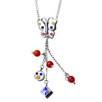 Necklace & Pendants - color crystal butterfly dangle sterling silver pendant necklaces jewelry for women Image.