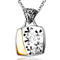 Sterling Silver Jewelry - square flowers sterling silver pendant necklace jewelry for women Image.