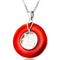 Sterling Silver Jewelry - karma necklaces circle agate character sterling silver necklace pendant Image.