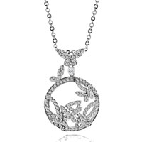 Necklace & Pendants - karma sterling silver clear crystal cz butterfly necklace pendant Image.