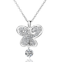 Necklace & Pendants - sterling silver clear crystal butterfly dangle pendant necklace Image.