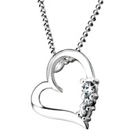 Necklace & Pendants - sterling silver crystal cz open heart pendant necklace for women earrings Image.