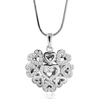 Necklace & Pendants - womens crystal cz vintage hollow heart bridal necklaces pendant earrings Image.