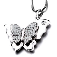 Necklace & Pendants - clear crystal cz butterfly silver tone pendant necklace for women earrings Image.