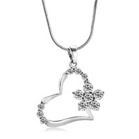 Necklace & Pendants - heart flower with clear white crystal cz pendant necklace for women earrings Image.