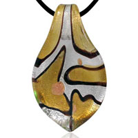 relation - murano glass silver gold striped leaf animal styles pendants necklaces Image.