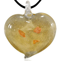 relation - murano glass red and gold heart pendant necklace Image.