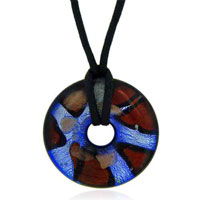 relation - mothers day gifts murano glass sterling silver red,  gold and blue oval Image.