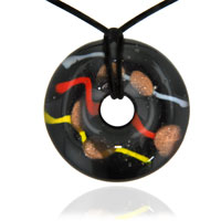 Necklaces - mothers day gifts murano glass mutlicolor stripes on black oval necklace pendant Image.