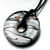Necklace & Pendants - murano glass green black striped round shaped pendant necklace earrings Image.