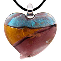 Murano Glass Jewelry - murano glass purple blue and gold heart pendant necklace Image.