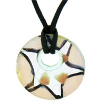 relation - murano glass pearl star silver foil round necklace pendant Image.