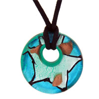 relation - murano glass sterling silver topaz foil donut fashion jewelry round pendants necklaces Image.