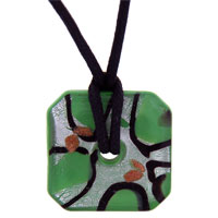 Murano Glass Jewelry - murano glass green silver foil square donut pendant necklace Image.