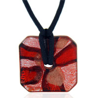 Murano Glass Jewelry - murano glass amber and silver foil square pendant necklace Image.