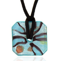 relation - murano glass sterling silver topaz and foil square donut necklace pendant Image.