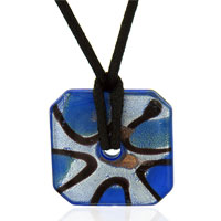 Murano Glass Jewelry - murano glass blue and foil square donut necklace pendant Image.