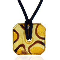 relation - murano glass sterling silver citrine and foil square donut pendant necklace Image.
